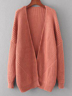 Loose Open Front Chunky Cardigan - Russet-red
