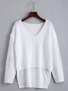 V Neck High Low Drop Shoulder Chunky Sweater - White