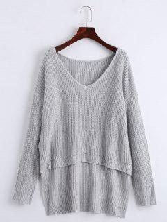 V Neck High Low Drop Shoulder Chunky Sweater - Gray