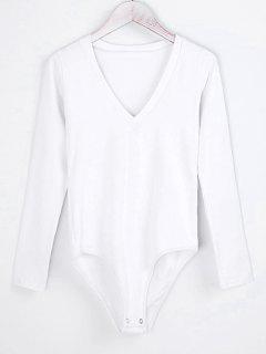 V Neck Skinny Long Sleeve Bodysuit - White S