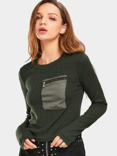 Zippered Pocket Ribbed Knitted Top - Army Green L