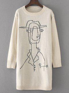 Long Loose Cartoon Graphic Sweater - Off-white
