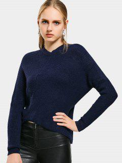 Crew Neck Asymmetric Sweater - Deep Blue