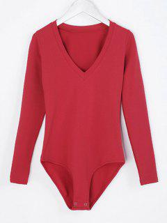 V Neck Skinny Long Sleeve Bodysuit - Red M