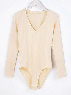 V Neck Skinny Long Sleeve Bodysuit - Apricot M