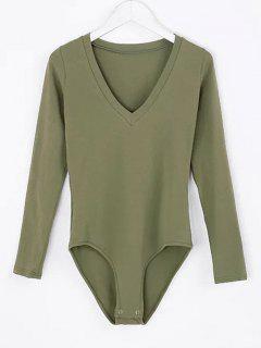 V Neck Skinny Long Sleeve Bodysuit - Army Green M