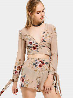 Floral Print Crop Top And Shorts Set - Khaki L
