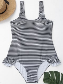 Low Back Striped Ruffles Plus Size Swimwear - White And Black Xl