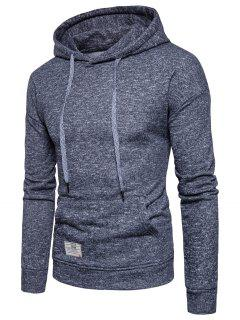 Knitted Drop Shoulder Drawstring Pullover Hoodie - Deep Gray M