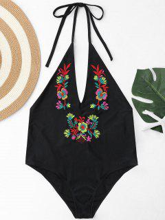Plus Size Halter Embroidered Swimsuit - Black 3xl