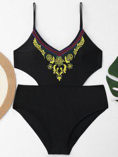 High Waist Embroidered Plus Size Swimsuit - Black 4xl