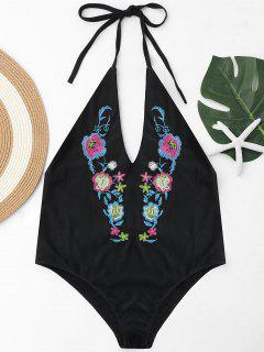 Halter Embroidered Plus Size Swimsuit - Black 4xl