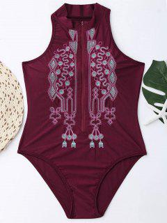 Zipper Fly Embroidered Plus Size Swimsuit - Wine Red 3xl