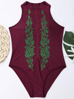 High Neck Embroidered Plus Size Swimsuit - Wine Red 2xl