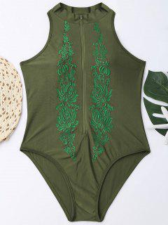High Neck Embroidered Plus Size Swimsuit - Blackish Green 3xl