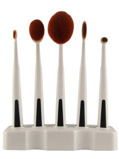 5 Pieces Toothbrush Brushes With Holder - White