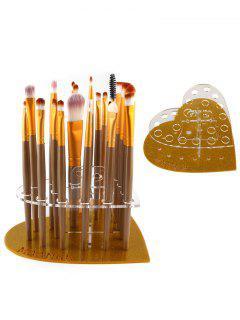 Makeup Brush Suit Heart Shape Holder - Golden