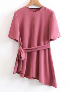 Belted Asymmetrical Top - Russet-red L