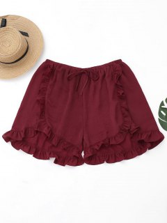 Ruffles Plus Size Tulip Cover Up Shorts - Burgundy Xl