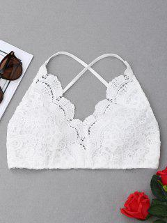 Criss Cross Crochet Lace Bralette Top - White M