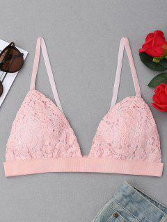 Plunging Neck Lace Bralette - Pink M