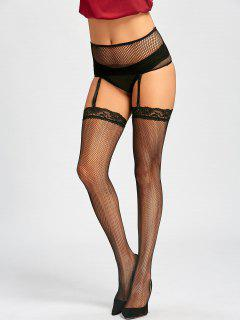 Fishnet See Through Garter Stockings - Black