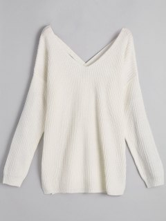 Pullover Back Lace Up V Neck Sweater - White