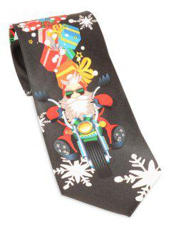 Santa Claus Ride A Motorbike With Gifts Tie - Black