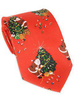 Santa Claus Christmas Tree Print Allover Tie - Red