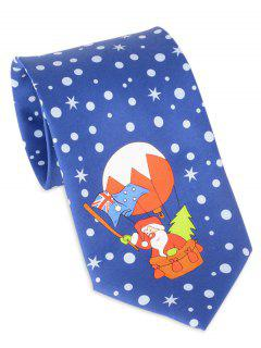 Santa Claus Flying By Balloon Print Tie - Blue