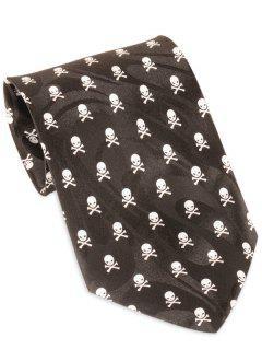 Cravate En étoile Imprimée Crâne Amusant De Halloween - Noir