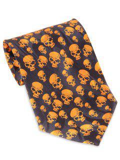 Halloween Skull Printed Faux Silk Necktie - Mandarin