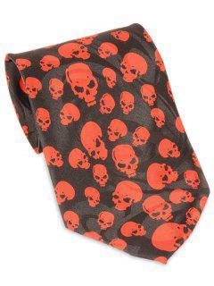 Cravate Décorée Par Motif De Crâne Halloween - Noir
