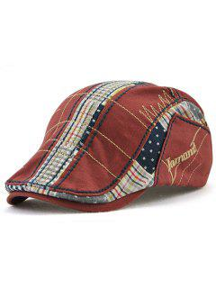 Retro Tartan Embroidery Patchwork Driver Hat - Wine Red