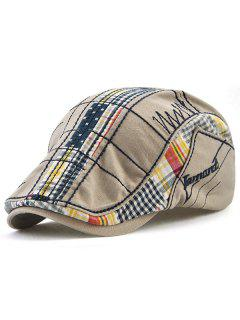 Retro Tartan Embroidery Patchwork Driver Hat - Gray