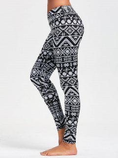 Geometric Pattern Leggings For Running - Black S