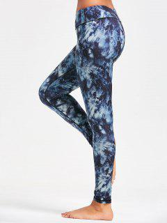 Pocket Insert Tie Dye Sports Leggings - Purplish Blue 2xl