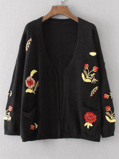 Floral Embroidered Open Front Cardigan With Pockets - Black