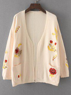 Floral Embroidered Open Front Cardigan With Pockets - Off-white