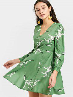 V Neck Printed Mini Flare Dress - Green M