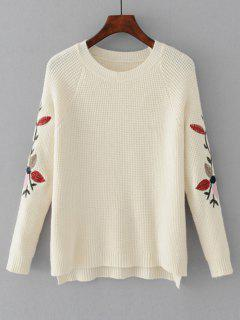 High Low Leaves Embroidered Sweater - White