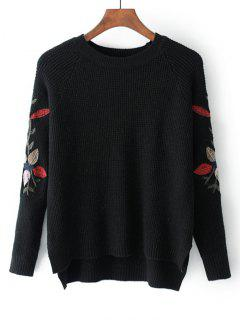 High Low Leaves Embroidered Sweater - Black