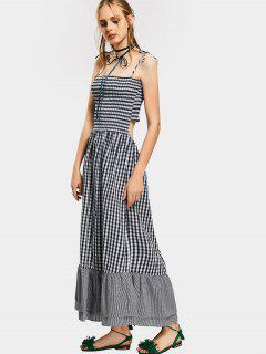 Cut Out Checked Cami Maxi Dress - Checked L