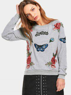 Floral Butterfly Patched Raglan Sleeve Sweatshirt - Gray L
