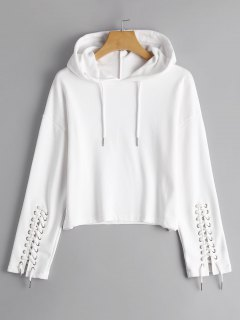 Cropped Lace Up Sleeve Hoodie - White M
