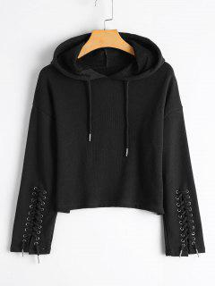 Cropped Lace Up Sleeve Hoodie - Black M