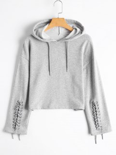 Cropped Lace Up Sleeve Hoodie - Gray M