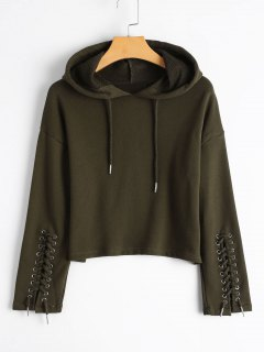 Cropped Lace Up Sleeve Hoodie - Army Green M