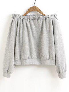 Cropped Off Shoulder Sweatshirt - Gray L