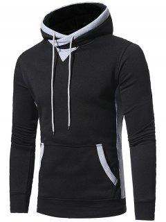 Hooded Elbow Patch Fleece Pullover Hoodie - Black 3xl